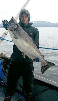 Caught at sea salmon