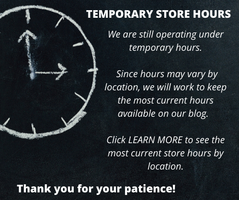 Popup displaying temporary store hours