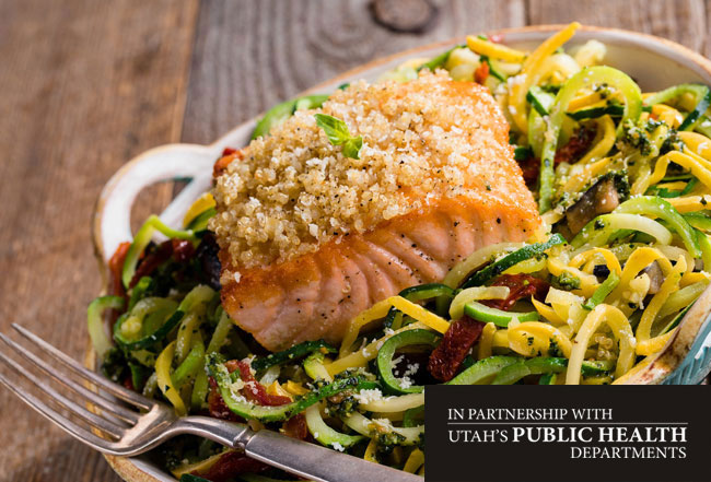 Quinoa-Crusted Salmon over Kale Pesto Squadoodles